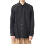 Cotton Linen Plane Shirt - Black-Black-1