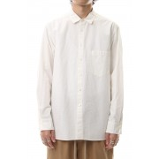 Cotton Linen Plane Shirt - White-White-1