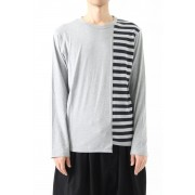 Vertical Switched Part Long Sleeve Shirt-Gray-1