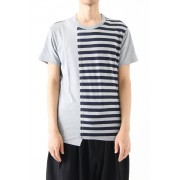 Vertical Switched Part T-Shirt-Gray-1