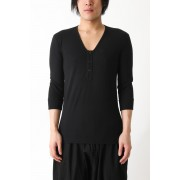 Wide V Neck 3/4-Black-3