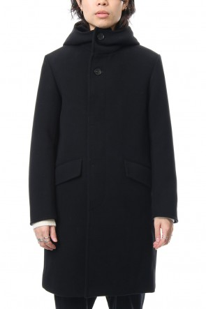 FACTOTUM 18-19AW Cashmere Pile Melton Long Food Coat - black