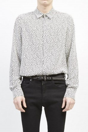 GalaabenD 19S Chiffon Leobird dot print shirt Off White×Black