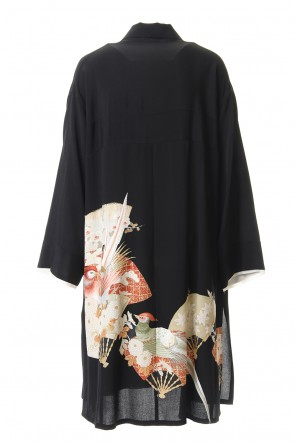 RONDO.ym20SSSilk Georgette Long-tailed Bird Embroidery Coat