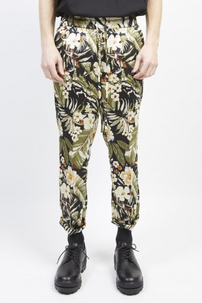 GalaabenD 19S PE Dessin tropical print drawstring pants Black