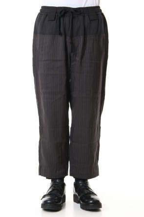 ZIGGY CHEN 19SS Hem layered Striped cropped pants 0M191 0517