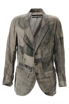 ZIGGY CHEN 20SS Used Paper Print Linen Tailored Jacket