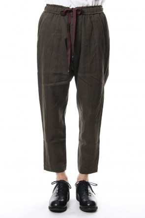 ZIGGY CHEN 18-19AW Cotton Wool Linen Drawstring Cropped Pants