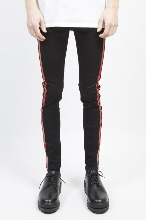 GalaabenD 19S EX fit denim side line leggings pants Black × Red