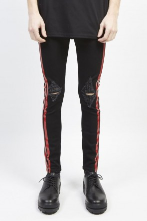 GalaabenD 19S EX fit denim side line leggings pants (knee crash) Black × Red