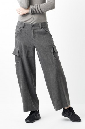 divka 16-17AW Wool linen cotton Washed Cloth Cargo Pants