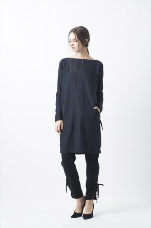 Wool / Cotton Twill Washed One-piece dress - 04-O02
