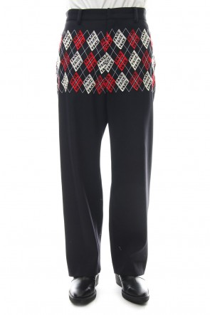 amok 18-19AW FAKE ARGYLE PANTS - 18021062 - BLACK