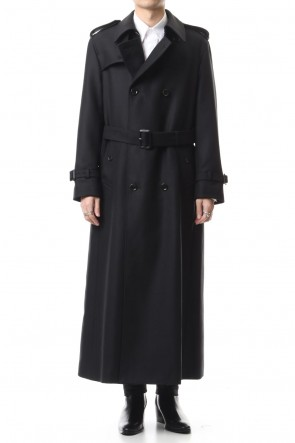 JOHN LAWRENCE SULLIVAN 19-20AW WOOL HERRINGBONE TRENCH COAT