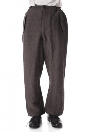 Yamauchi 20SS Bamboo linen Wide pants Charcoal Brown