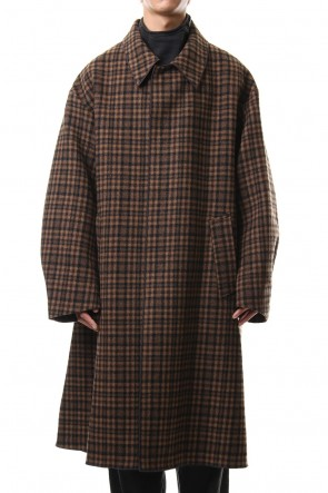 CLANE HOMME 19-20AW STAND FALL COLLAR CHECK COAT
