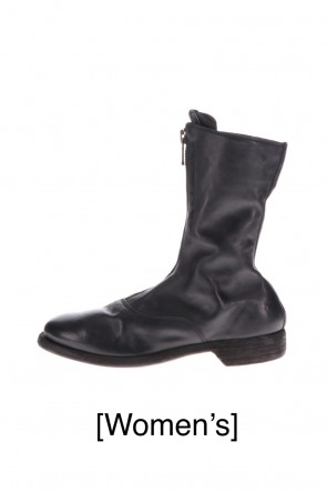 Guidi 20-21AW Middle Front Zip Boots Single Sole - Soft Horse Full Grain Leather - Black