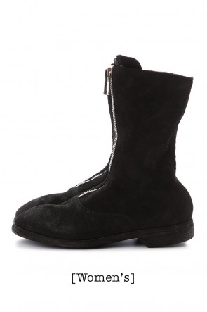 Guidi20SSWomen's Middle Front Zip Boots Single Sole - Soft Horse Reverse Leather - 310