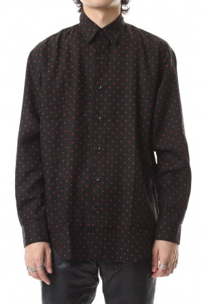 JOHN LAWRENCE SULLIVAN 19-20AW DOTPRINTEDRAYONREGULAR COLLAR SHIRT Black×Red