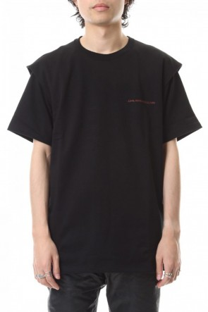 JOHN LAWRENCE SULLIVAN 19-20AW COTTON TUCKED SHOULDER SS TEE Black