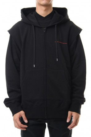 JOHN LAWRENCE SULLIVAN 19-20AW COTTON SWEATTUCKED SHOULDER HOODIE Black