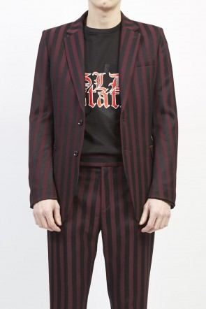 GalaabenD 19-20AW Jacquard stripe stretch 2B jacket Bordeaux × Black