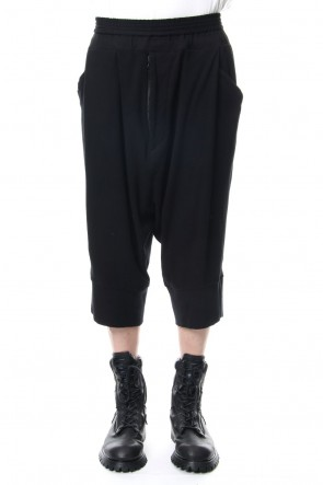 JULIUS 19PF TUCKED CROTCH PANTS Black