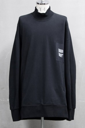 JULIUS 20PS MOCK-NECK PULLOVER Black