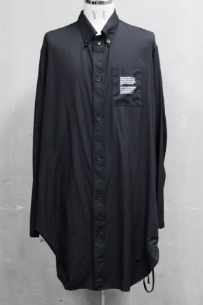 JULIUS 20PS DRAWCORD LONG SHIRT Black