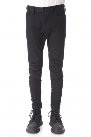 JULIUS 20-21AW TUCKED KNEE SKINNY DENIM PANTS