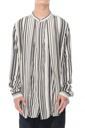 JULIUS 20-21AW STAND COLLAR STRIPE SHIRT