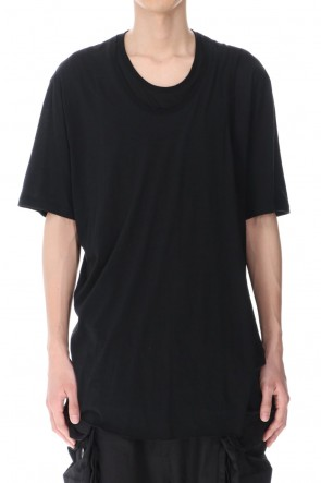 JULIUS 21SS LAYERED NECK T-SHIRT BLACK