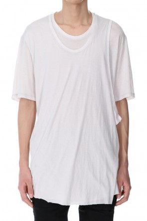JULIUS 21SS LAYERED NECK T-SHIRT PLASTER