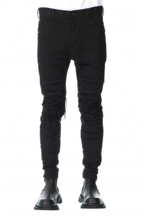 JULIUS 21SS CRASH DESTROYED PANTS BLACK