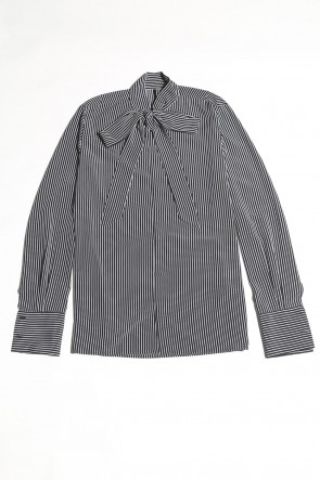 GalaabenD 20-21AW Stripe Ribbon Shirt (Black×Off White)