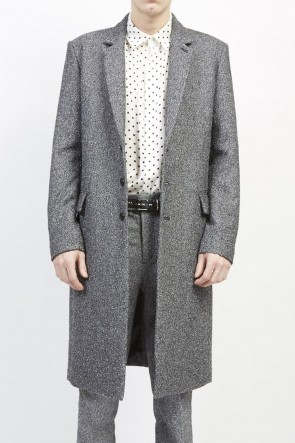 GalaabenD 19-20AW Loop yarn melange herringbone chesterfield coat