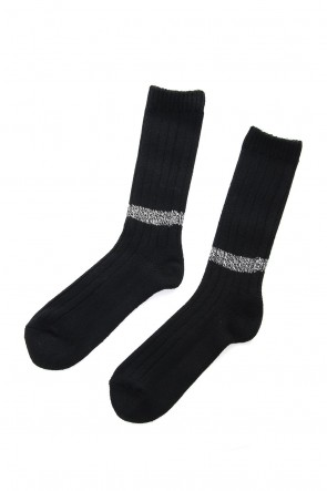 wjk 18-19AW Wool Sox - Black × White