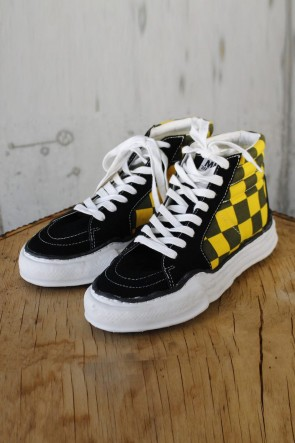 MIHARAYASUHIRO 19-20AW BIG GINGHAM HITOP SNEAKERS Black / Yellow