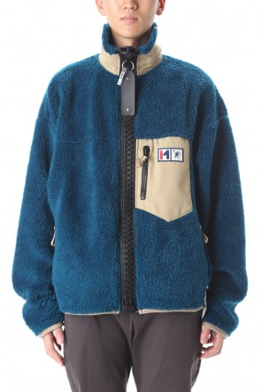 MIHARAYASUHIRO 20-21AW Enlarged zip Boa blouson Blue