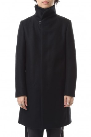 ATTACHMENT 19-20AW Cashmere mixed flat double melton stand collar coat