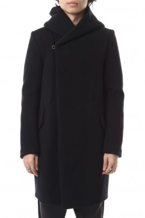 ATTACHMENT 19-20AW Cashmere mixed double face beaver hooded coat Black