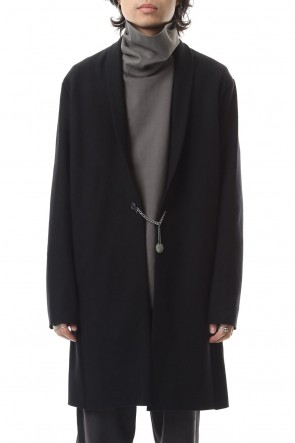 ATTACHMENT 19-20AW Cashmere mixed stretch furano stole collar coat Black