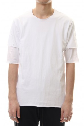 ATTACHMENT 20SS 80/2 Tightness plain stitches Crew neck layered T-Shirt White