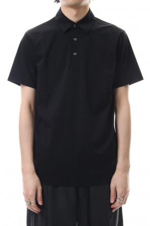 ATTACHMENT 19SS 80/1 × T400 compact indoor polo shirt Black