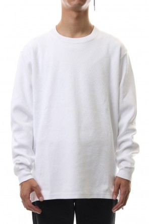 ATTACHMENT 19-20AW Honeycomb waffle double face crew neck L/S cut&sewn White