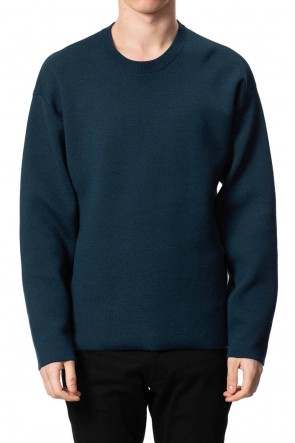 ATTACHMENT 20-21AW W/Pe double face knit Crewneck pullover D.Blue