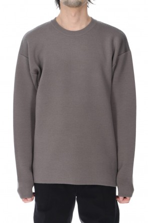 ATTACHMENT21-22AWW/PE double face knit Crew neck pullover Beige
