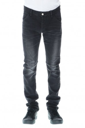 ATTACHMENT 20-21AW 12.5 oz stretch denim Curved pants X.Black