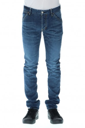 ATTACHMENT 20-21AW 12.5 oz stretch denim Curved pants Navy
