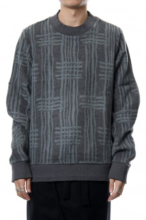 individual sentiments 18-19AW Pullover CT63 Grid Pattern Jaquard Wool Beaver Finished Gray Green
